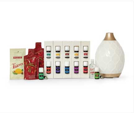 Young Living Premium Starter kit with 12 oils diffuser, Ninxgia Red juice, Thieves hand sanitizer and Thieves Cleaner.