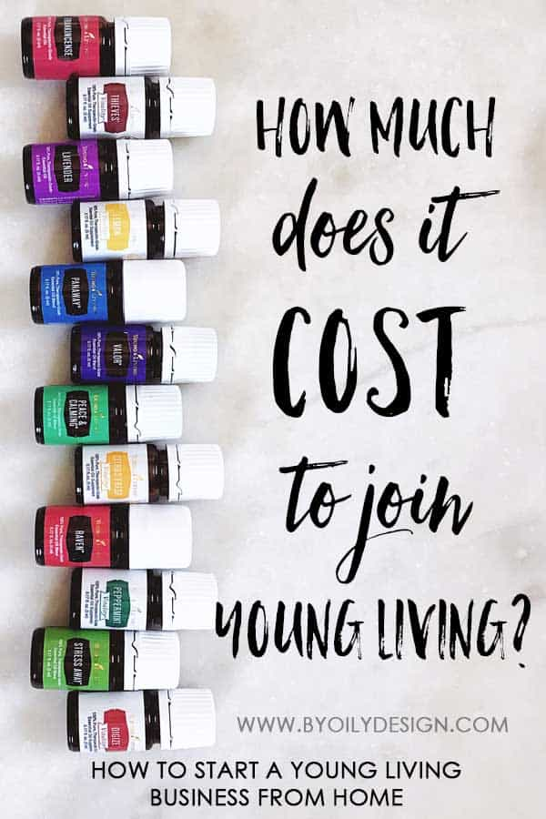 """12 essential oil bottles from young living with a text overlay saying """"how much does it cost to join young living?"""