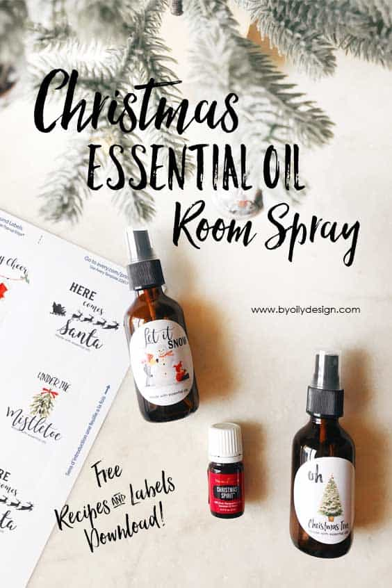 Essential oil spray bottles with Christmas themed bottle labels.
