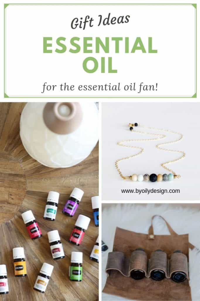 image of gift ideas for essential oil fans. diffuser necklace, leather essential oil pouch and essential oil diffuser with oils