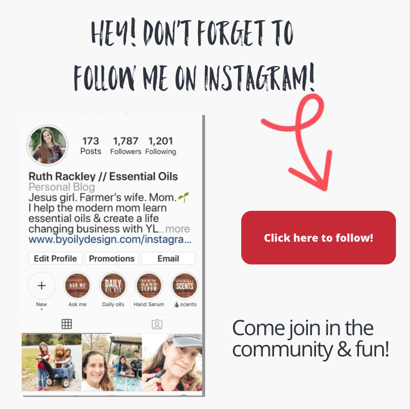 "Screenshot of the By Oily Design Instagram page with the text, ""hey, don't forget to follow me on Instagram. Come join in the community and fun. Click her to follow."""