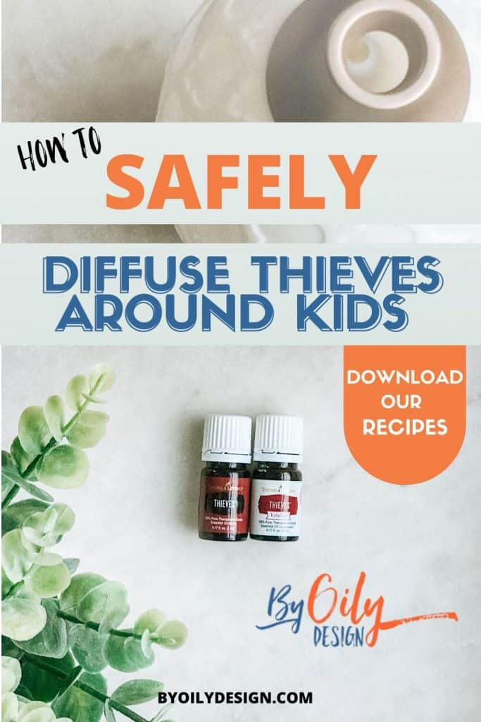Shows two bottles of Thieves oil and a diffuser. showing how to Diffuse Thieves essential oil.