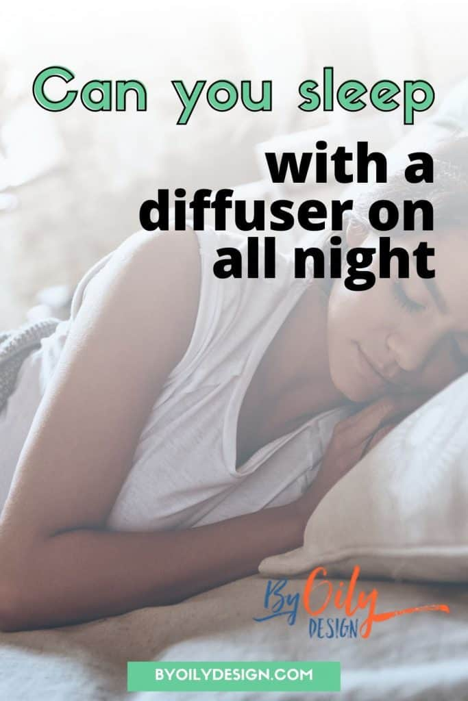 Image depicts a woman sleeping while diffusing Thieves essential oil