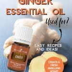 Bottle of ginger essential oil with a raw piece of ginger.