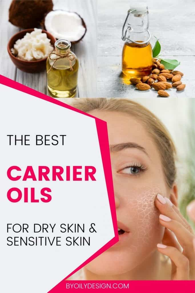 woman with dry skin and suggested carrier oils above her