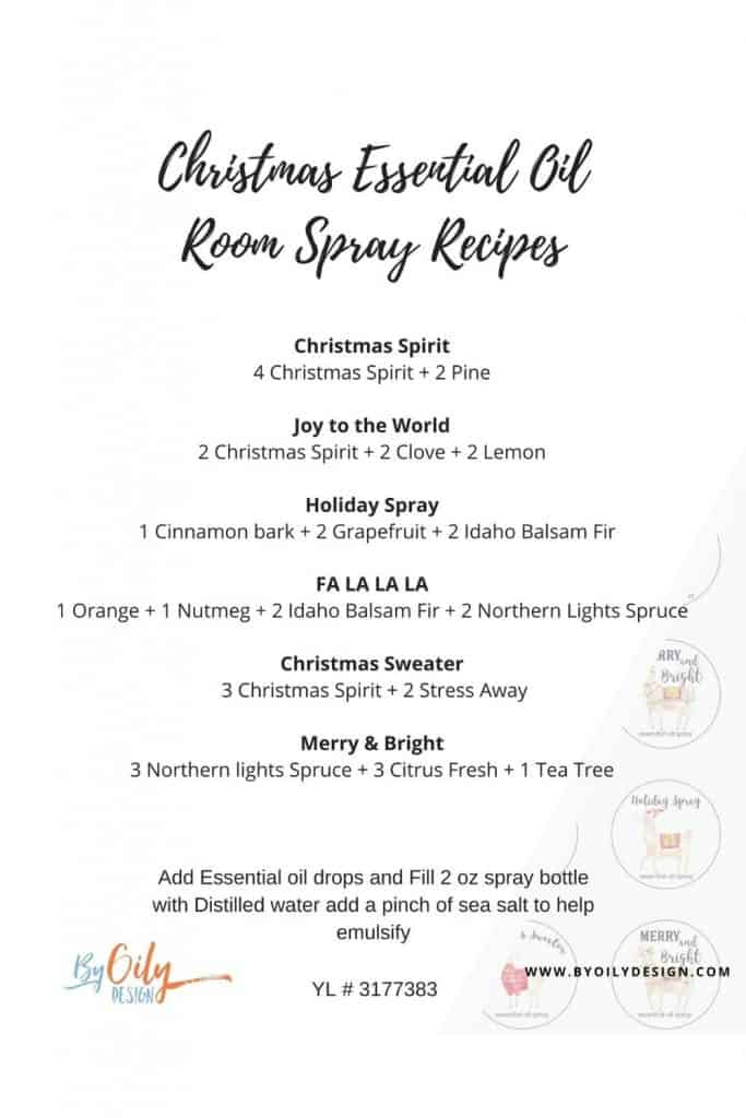 Image shows the essential oil room spray recipes that go with the Christmas llama labels