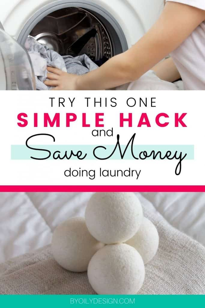 image of dryer balls and woman removing laundry that has been scented using essential oil for laundry and dryer balls.