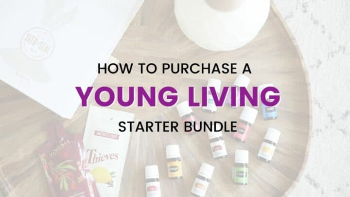 Over head shot of a Young Living starter Bundle with the essential oils, diffuser, starter box and sample packs laid out on a wood tray.