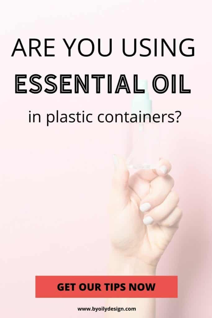 hand holding up a sample fo the type of plastic that is safe for essential oils